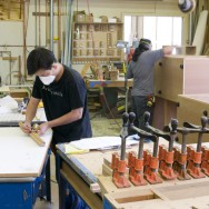 Custom wood shop building furniture